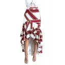 Fancy Red Colorblock High Low Hem Ruffled Maxi Asymmetrical Skirt
