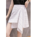 Summer Fancy Plaid Printed Unique Ruched Mini A-Line Asymmetrical Skirt