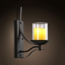 Industrial Black Wall Lamp with Candle Shape 1 Light Metal and Glass Sconce Light for Foyer