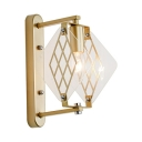 Metal Square Panel Wall Light 1 Light Traditional Sconce Light in Gold for Villa Hotel