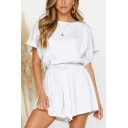 Womens Simple Solid Color Short Sleeve Round Neck Tied Waist Casual Playsuits Rompers
