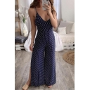 New Stylish Classic Polka Dot Printed Sexy Strappy Open Back Split Side Wide-Leg Navy Jumpsuits