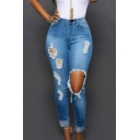 Womens New Fashion Distressed Ripped Big Hole Knee Rolled Cuff Skinny Fit Blue Jeans