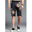 Guys Summer Fashion Printed Drawstring Waist Black Loose Fit Relaxed Shorts