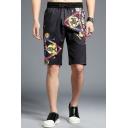 Guys Summer Fashion Printed Drawstring Waist Black Loose Fit Relaxed Shorts