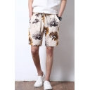 Chinese Style Retro Floral Printed Drawstring Waist Linen Loose Fit Swim Shorts