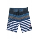 Fancy Colorblock Striped Printed Quick Drying Surfing Swim Trunks for Men