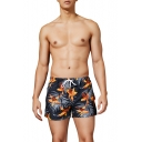 Mens Summer Popular Tropical Printed Drawstring Waist Casual Loose Swim Shorts Board Shorts