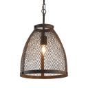 Rust Metal Mesh Pendant Light 1 Light Industrial Metal Ceiling Light for Restaurant Bar