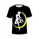 Popular Comic Girl Sailor Moon Printed Short Sleeve Black T-Shirt