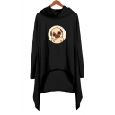 Lovely Cartoon Pug Dog Printed Long Sleeve Hooded Shift Asymmetrical Dress