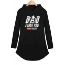 New Stylish Letter DAD I LOVE YOU THREE THOUSAND Long Sleeve Hooded Dress