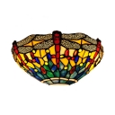 Restaurant Shop Dragonfly Pattern Sconce Light Stained Glass 1 Light Tiffany Style Vintage Wall Lamp