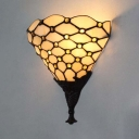 Up Lighting Living Room Wall Lamp Glass Tiffany Style Wall Light in White for Bedroom Living