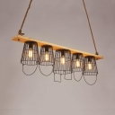 Bucket Shade Dining Room Island Light Metal Wood 5 Lights Industrial Pendant Light for Shop Bar