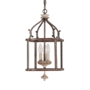 Antique Style Birdcage Shade Hanging Light 3 Lights Wood and Metal Chandelier for Balcony Living Room