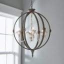 Vintage Style Ceiling Light with Globe Shade 6 Lights Metal Chandelier Light for Dining Room Restaurant
