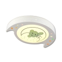Cute Bear Pattern Ceiling Light Third Gear/Stepless Dimming Acrylic Flush Mount Light for Kids Bedroom