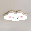 White Cloud Flush Mount Light Warm Lighting/Stepless Dimming Acrylic Light Fixture for Bedroom