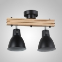 Industrial Wood Metal Ceiling Light Angle Adjustable 2/3/4 Heads Spot Light for Restaurant Shop