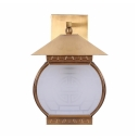 Metal Frosted Glass Wall Lamp with Lantern Shape 1 Light Vintage Style Sconce Light for Living Room