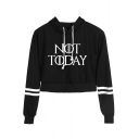 Trendy Letter NOT TODAY Striped Long Sleeve Cropped Drawstring Hoodie