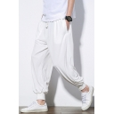 Men's New Style Chinese Style Relaxed Leisure Linen Bloomers Hallen Trousers with Drawstring