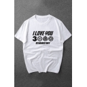 New Trendy Letter I Love You 3000 Short Sleeve Basic Casual Tee