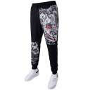 Mens Cartoon Printed Drawstring Waist Cotton Black Sport Joggers SweatPants