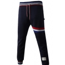 New Fashion Stripe Printed Drawstring Waist Patched Casual Sport Joggers SweatPants for Men