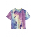 Cool Fashion Purple Ombre Tie Dye Basic Short Sleeve Cropped T-Shirt