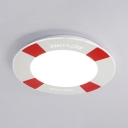 White/Blue Slim Panel Ceiling Light Creative Swimming Ring LED Flush Mount Light for Kids Bedroom in Warm