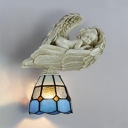 Bedroom Hallway Tiffany Wall Light with Angel Decoration Resin and Stained Glass Hand Made Sconce Light