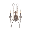 Metal Candle Shade Wall Light Dining Room 2 Lights Antique Style Light Fixture with Wooden Beads