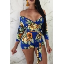 Summer Women's Chic Floral Printed Sexy Plunged V-Neck Three-Quarter Sleeve Tied Waist Slim Fit Rompers