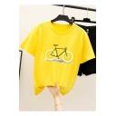 Trendy Funny Lemon Bicycle Printed Round Neck Short Sleeve Tee
