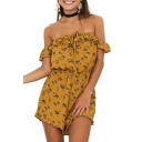 Women's Summer Yellow Floral Printed Off the Shoulder Casual Loose Romper