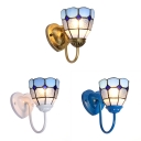 Kitchen Bowl Wall Light Glass 1 Light Mediterranean Style in Blue/White/Brass Wall Lamp