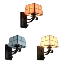 Traditional Beige/Pink/Blue Wall Sconce 1 Light Glass and Metal Wall Light for Bedroom Study