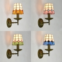 Tapered Shade Wall Light Bedroom Stained Glass 1 Light Tiffany Style Sconce Light in Blue/Yellow/Green/Pink