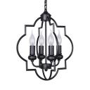 Antique Style Candle Shape Chandelier Metal 4 Lights Black Suspension Light for Hotel Restaurant