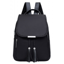 Fashion Solid Color Water Resistant Nylon Tassel Drawstring Backpack 25*13*35 CM