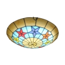 Tiffany Style Star Flush Ceiling Light Stained Glass 1 Light Light Fixture for Bedroom