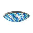 Bowl Shade Ceiling Fixture Glass One Light Mosaic Flush Mount Light for Dining Room