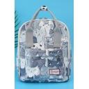 Hot Fashion Lovely Cartoon Cat Printed Grey Satchel Backpack Bookbag 27*11*30 CM