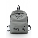 Cheap Popular Letter HAPPY EVERY DAY Pattern School Bag Backpack for Junior 27*9*35 CM