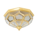 Elegant Style Polyhedron Flush Ceiling Light Glass 3 Lights Brass Light Fixture for Hotel
