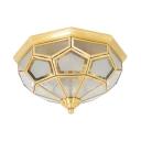 Elegant Style Polyhedron Flush Ceiling Light Glass 3 Lights Brass Light Fixture for Hotel