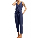 Women Sexy V-Neck Sleeveless Bow-Tied Waist Casual Linen Jumpsuits