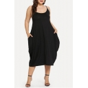 Women's Plus Size Solid Color Scoop Neck Midi Black Slip Dress with Pocket
